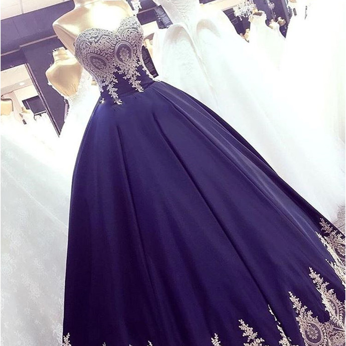 Navy Blue Appliques Ball Gown Prom Dresses, by prom dresses on Zibbet
