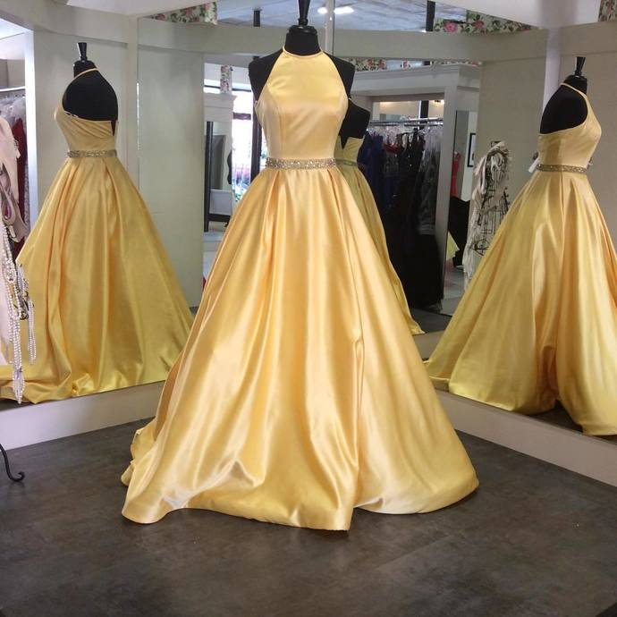 6e31027ff9e Ball Gown Halter Satin Prom dress with Beading yellow Prom Dresses Formal  Dress