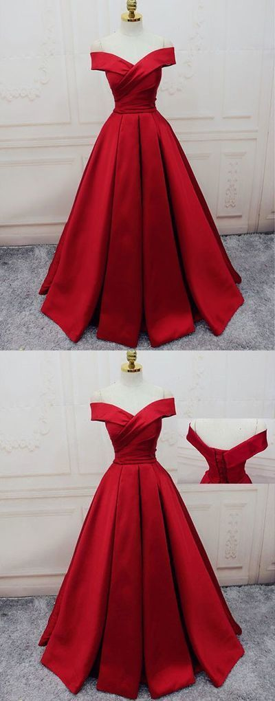Red Prom Dresses Off-the-shoulder, Ball Gown Party Dresses Satin, Sweep Train