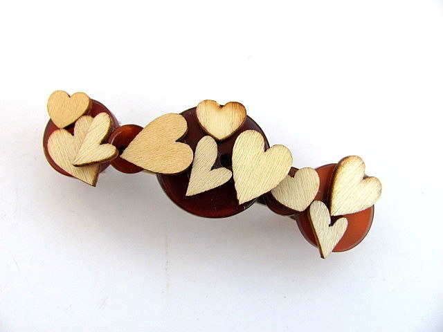 Barrette Wood Hearts Button Barrette FREE US Shipping