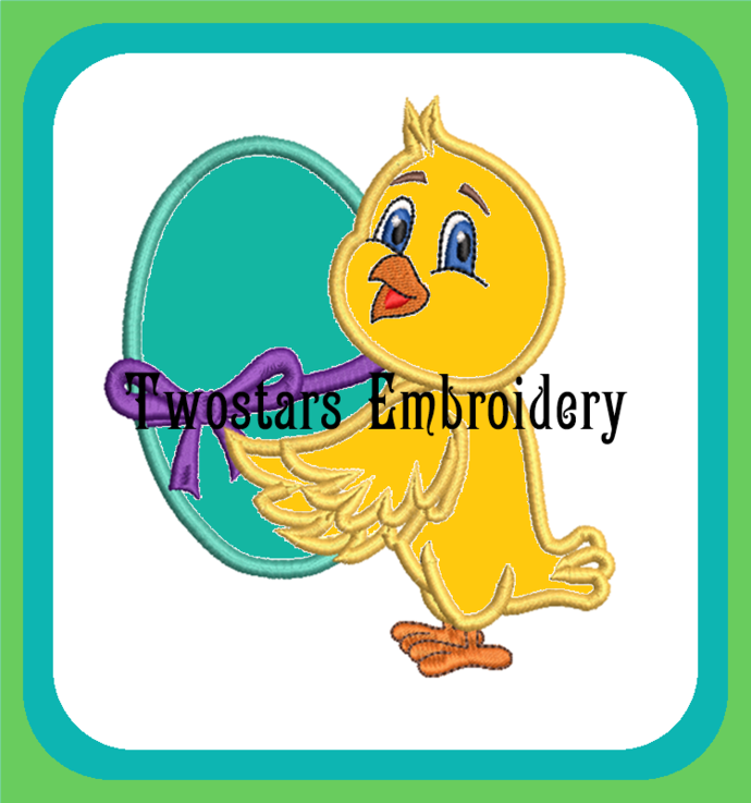 Cute Easter chick holding egg in 4x4 5x7 size digital applique embroidery file.