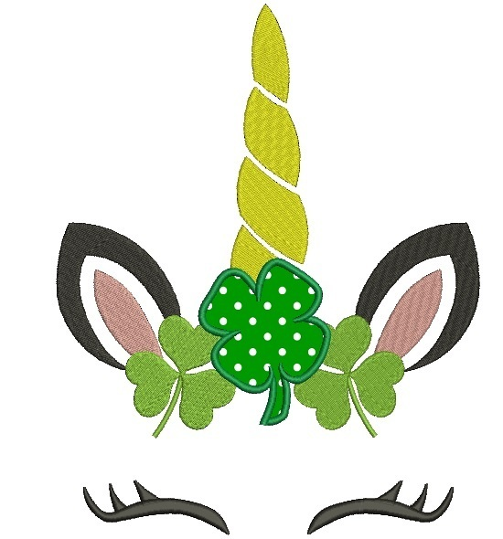Copy of Unicorn face embroidery designs Lucky St.Patrick's Day Shamrock applique