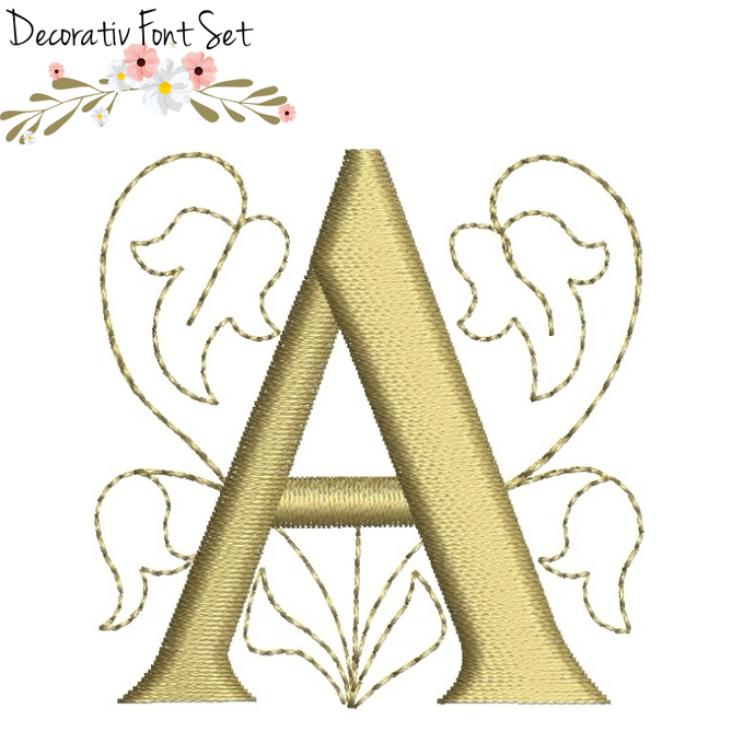 Embroidery machine designs Alphabet Font set decorative monogram initial instant