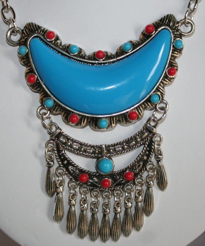 e1b445e0f78 Large Half Moon Turquoise Western Cowgirl Pendant Statement Necklace Tribal  Style Pendant Necklace
