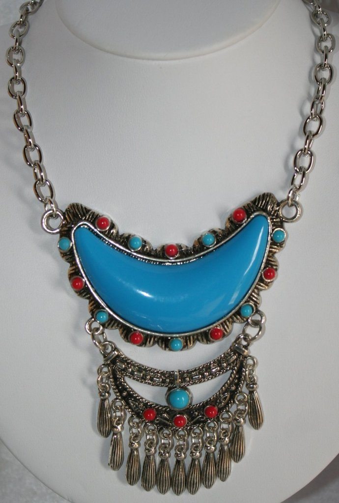 Large Half Moon Turquoise Western Cowgirl Pendant Statement Necklace Tribal