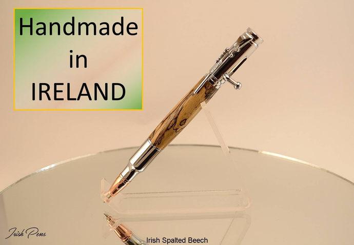 bolt action Pen, Hunters Pen, Outdoors Pen, Handmade in Ireland, Irish Spalted