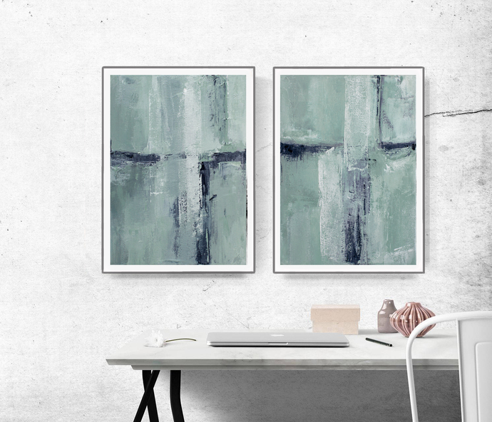 Pastel Green Poster, Mint Green Print, Abstract Teal Printable, Mint Green