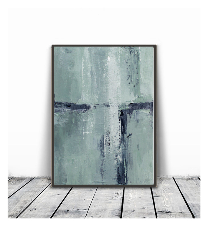 Abstract Landscape Painting,white and mint Print, Coastal Print, Minimalist