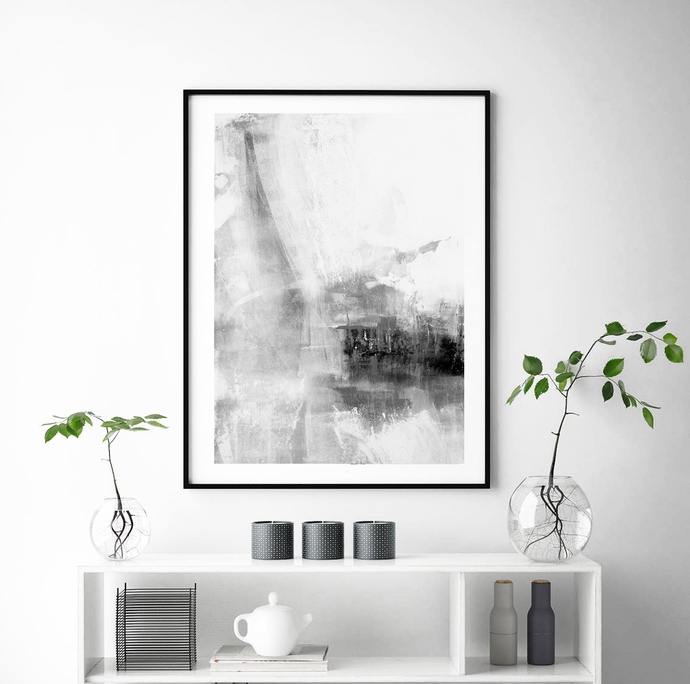 Grey & White Abstract Wall Art, Grey Stripes, Minimalist Art, Brush Stroke