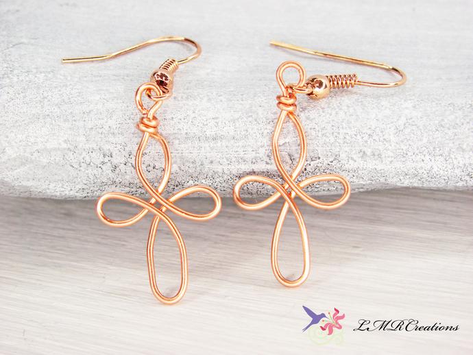 Small Copper Cross Earrings, Copper Wire Jewelry, Delicate Earrings, Infinity