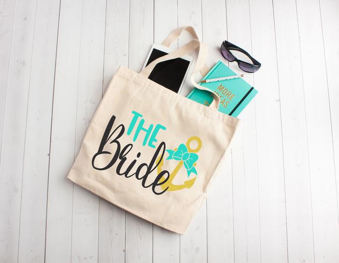 the bride, nautical bride bag, personalized tote bag, custom tote bags,
