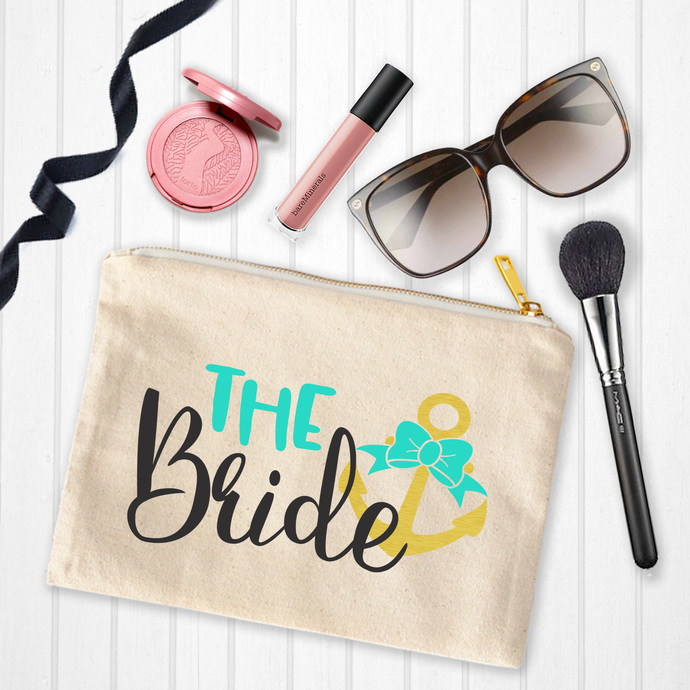 The Bride, Nautical Bride, bride with anchor, Custom Makeup Pouch, personalized