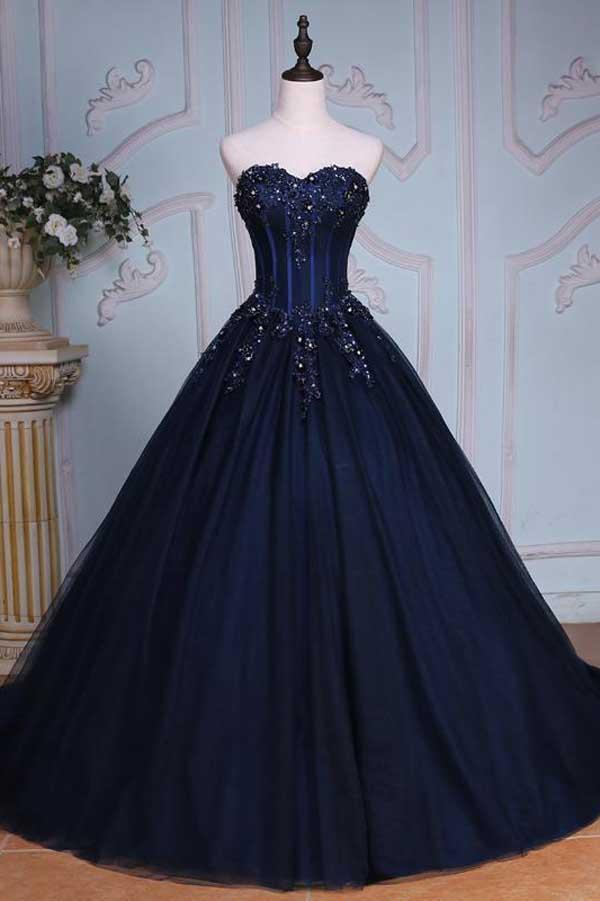 Princess A Line Sweetheart Navy Blue Ball By Prom Dresses