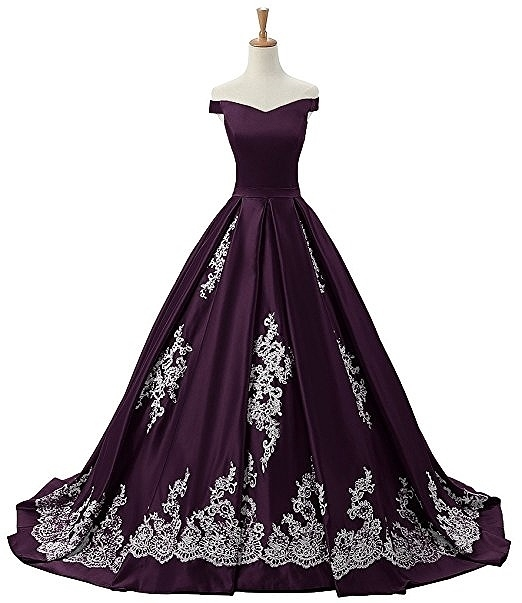 4b044ec1ffb Sunvary Women s Evening Prom Dress Ball Gown Off-The-Shoulder Applique  purple