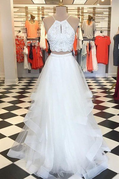 65679ca6e12 Elegant Two Piece White Long Prom Dress by prom dresses on Zibbet