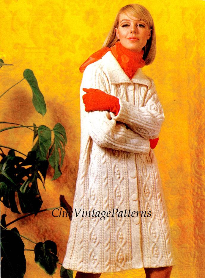 Knitted Aran Coat ... Ladies Aran Coat ... Stylish Warm and Cosy ... Long Line
