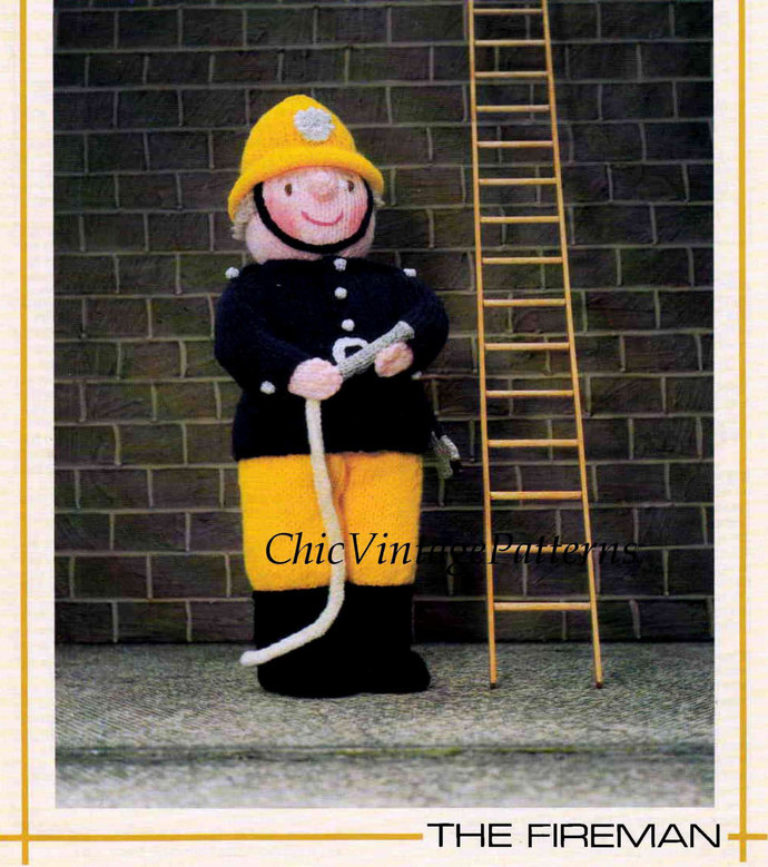 Knitted Soft Toy Pattern ... Fireman Sam Doll ... Instant Download Pattern ...