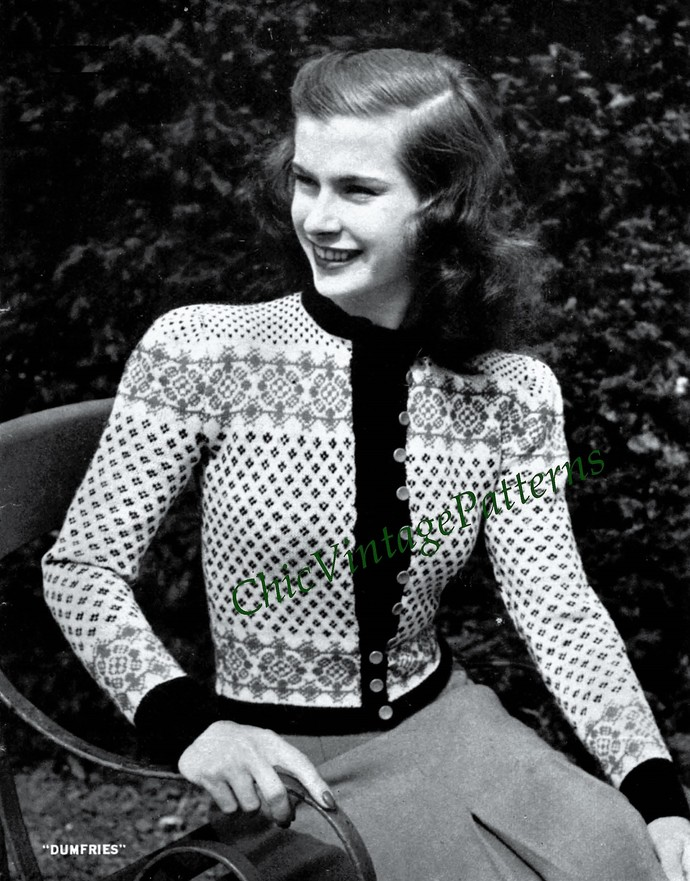 Knitted Ladies Cardigan Pattern By Chicvintagepatterns On Zibbet