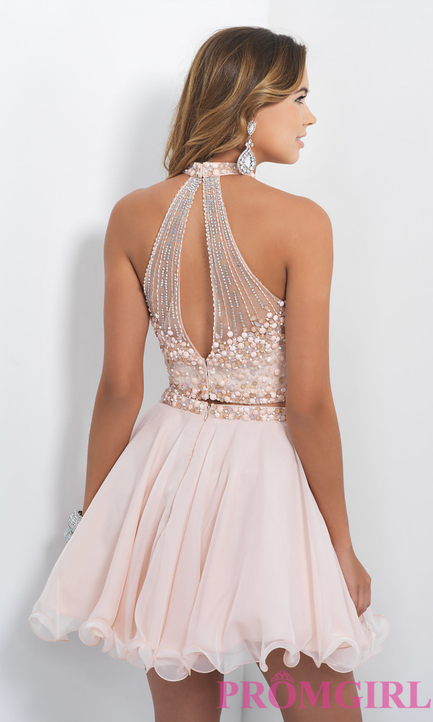 Two Piece Homecoming Dress,Short Homecoming Dresses,Tulle Homecoming Gown,Blush
