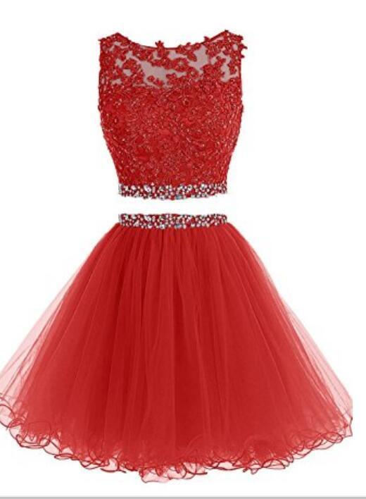 Prom Dresses Two Pieces Short Beaded Party Dresses Tulle Applique Homecoming