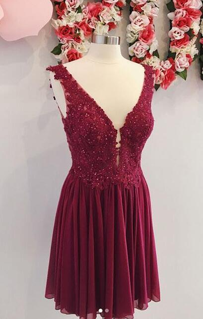 e1945bfa493 Simple Burgundy Prom Dress