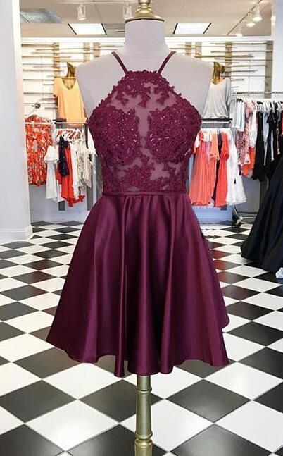 8d1664669df07 Burgundy Lace Prom Dress,Short Prom Dress,Chiffon Prom Dress,Halter  Homecoming
