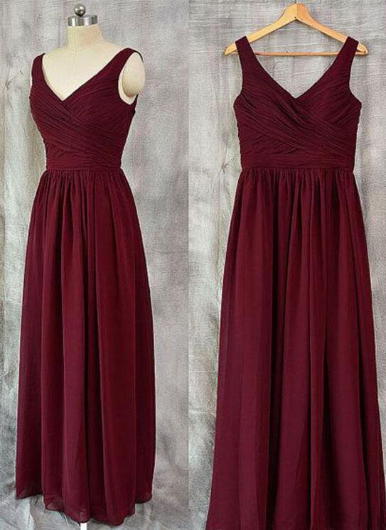 Burgundy V-Neck Prom Dress,Cheap Prom Dress,Long Prom Dress,Chiffon Bridesmaid