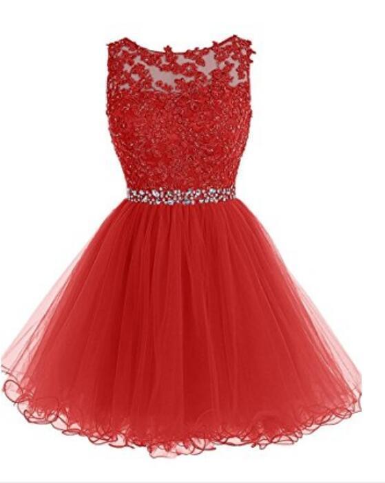 Broybuy Damen Kurz Ballkleid Sheer Rundhals by dresses on Zibbet