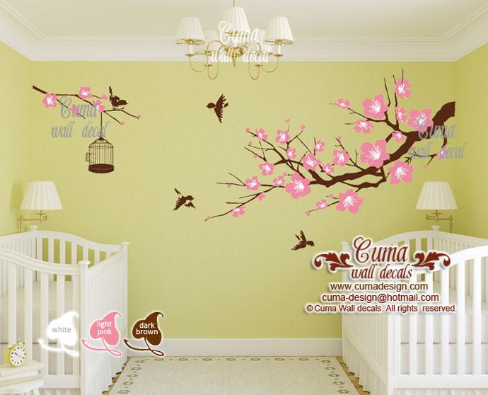 twins nursery decals tree wall decals flower vinyl wall decals birdcage wall