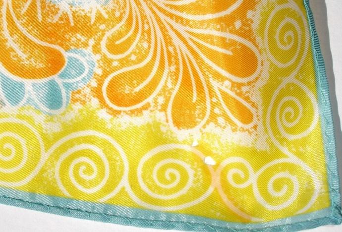 Vera Neumann Orange Teal Tan Yellow And White Paisley Design Scarf
