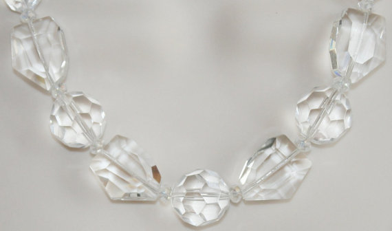 Big Chunky Faceted Crystal Statement Necklace, Sparkling Clear Crystal Quartz