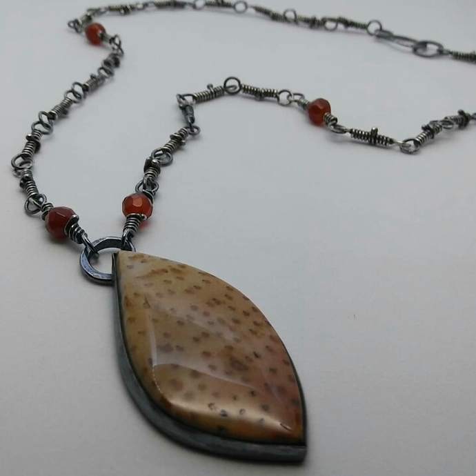 Oxidized sterling silver and palmwood necklace