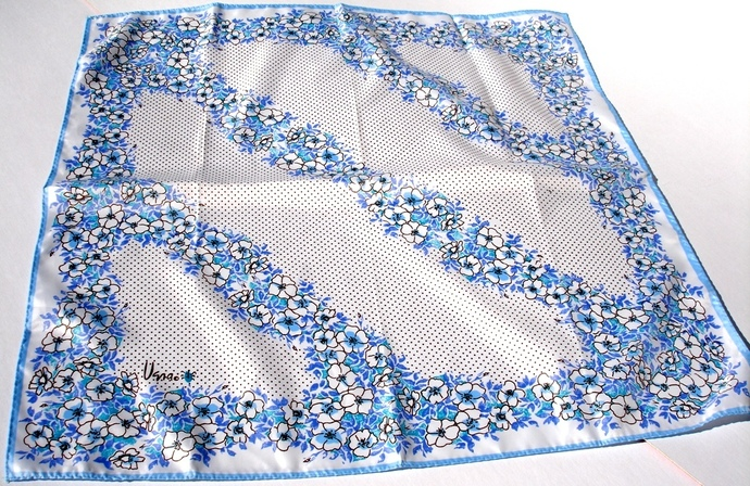 Vera Neumann Ladybug Blue White Purple Brown Floral Polka Dot Scarf