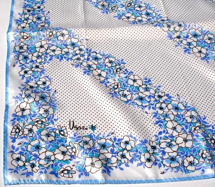 Vera Neumann Ladybug Blue White Purple Brown Floral Polka Dot Scarf