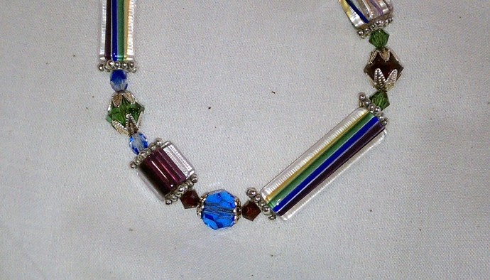 Hand-Blown Glass & Swarovski Crystal Bracelet, Item #120