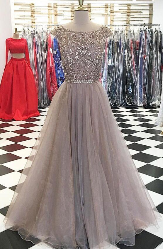 Beading Prom Dress,Sexy Prom Dress,Tulle Prom Dress,Unique round neck sequin