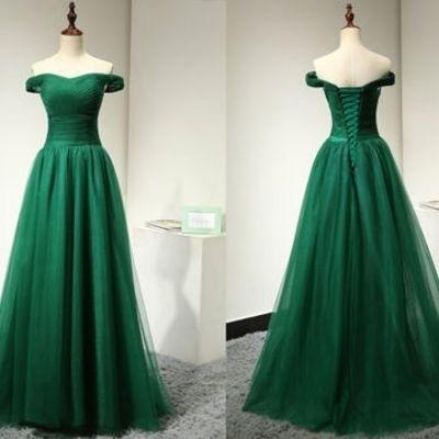 Off the Shoulder Green Formal Dresses,Tulle by prom dresses on Zibbet