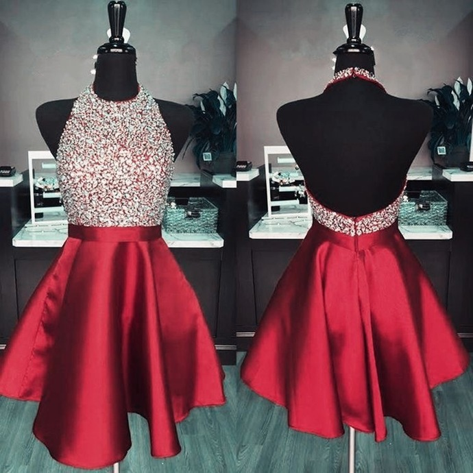 Maroon Puffy Homecoming Dresses,Backless Halter Lovely Homecoming