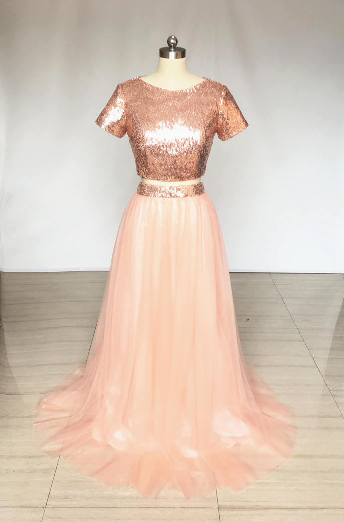 2fda8933e54 Two Piece Rose Gold Sequin Tulle Long Bridesmaid Dress with Short  Sleeves