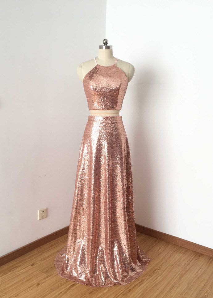 Two Piece Rose Gold Sequin Long Prom By Prom Dresses On Zibbet