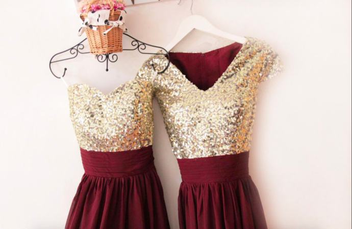 937e78a023 V Neckline Gold Sequin Chiffon Burgundy by prom dresses on Zibbet