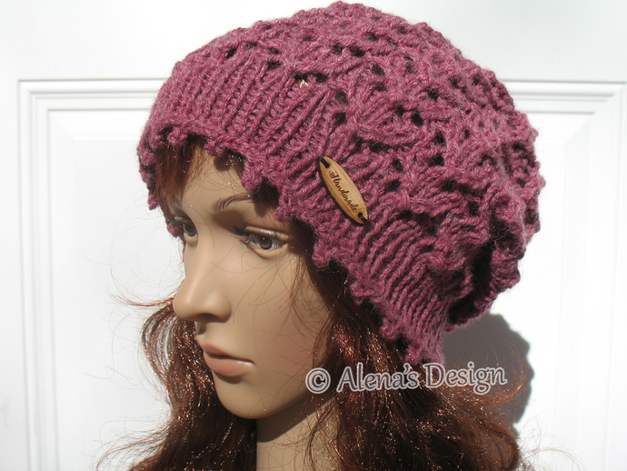 efb69983aae Knitting Pattern 204 Lace Slouchy Beanie Knitting Patterns Lace Hat Teen  Adult