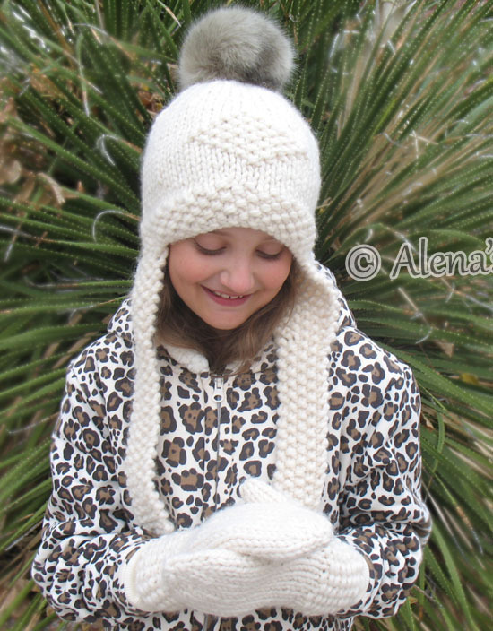 Knitting Pattern 201 Knitted Earflap Hat Faux Fur Pompom Winter Cream Hat Boy
