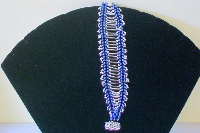 Fabulous Handmade Beadwoven Blue & Silver Bracelet