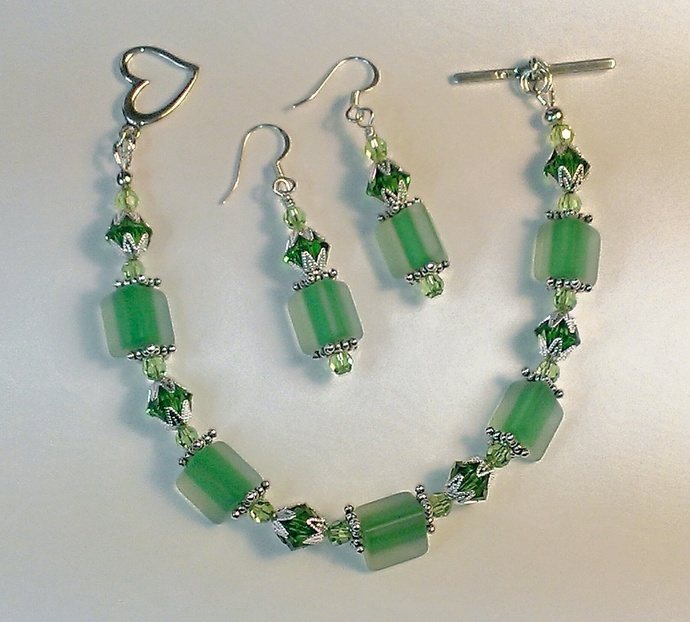 Hand-Blown Glass & Swarovski Crystal Bracelet Set, Item #153