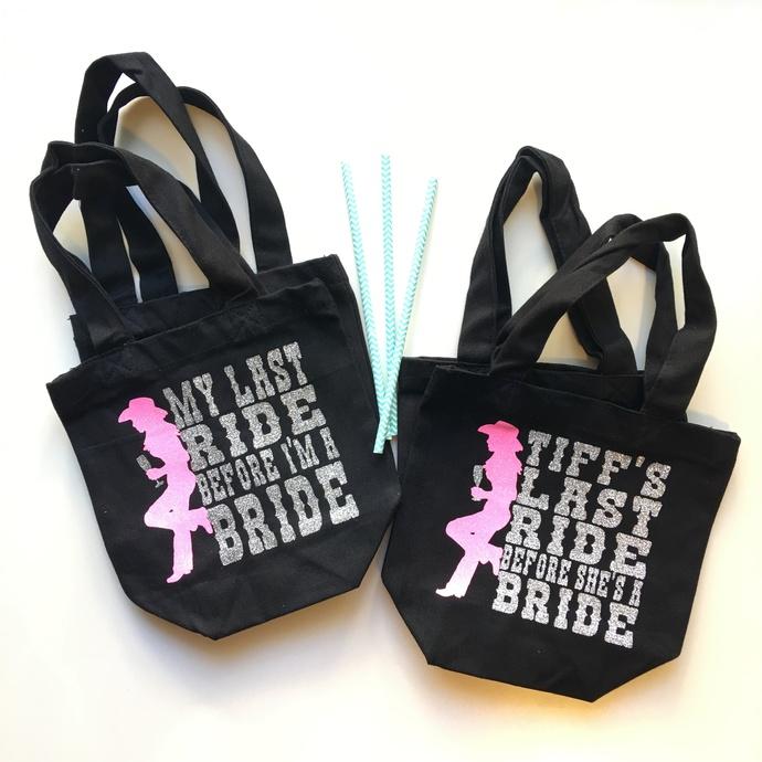 Brides Last Ride, Custom Bachelorette Party Tote, Western themed bachelorette