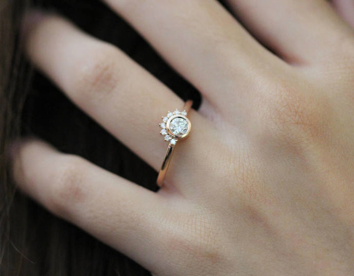 Diamond Sun Rising rose gold engagement by divineelements on Zibbet