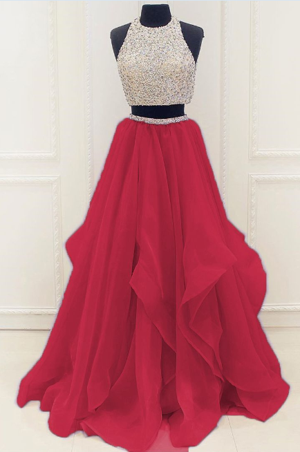 Red Beaded Prom Dress,Two Pieces A Line Prom Dress,Custom Made Evening Dress