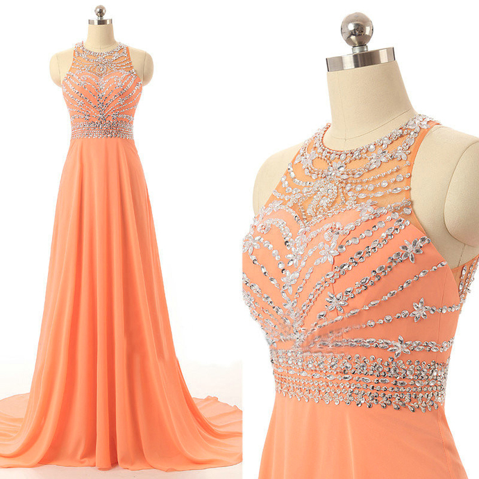 2018 New Arrival Orange Prom Dresses Long Elegant by lass
