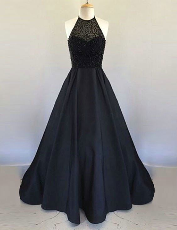 2018 Open Back Black Prom Dress with Beaded Bodice,Prom Dresses, Formal Prom